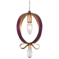 Varaluz 263M01RPLGL Posh 1 Light 7 inch Plum and Gold Leaf Mini Pendant Ceiling Light