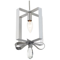 Posh 1 Light 7 inch Pearl and Silver Leaf Mini Pendant Ceiling Light