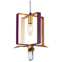 Varaluz 263M01SPLGL Posh 1 Light 7 inch Plum and Gold Leaf Mini Pendant Ceiling Light