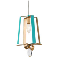 Varaluz 263M01TAQGL Posh 1 Light 7 inch Aqua and Gold Leaf Mini Pendant Ceiling Light