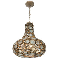 Fascination 3 Light 18 inch Hammered Ore Carafe Pendant Ceiling Light, Recycled Clear Bottle Glass