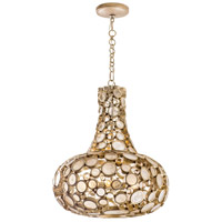 Fascination 3 Light 18 inch Zen Gold Carafe Pendant Ceiling Light, Recycled Champagne Glass