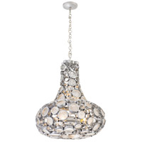 Fascination 4 Light 24 inch Metallic Silver Carafe Pendant Ceiling Light, Recycled Clear Glass