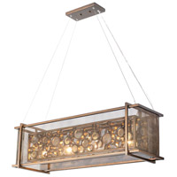 Fascination 4 Light 36 inch Hammered Ore Linear Pendant Ceiling Light, Recycled Clear Bottle Glass