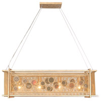 Fascination 4 Light 36 inch Kolorado Linear Pendant Ceiling Light, Recycled Amber Bottle Glass