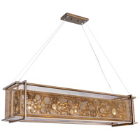 Fascination 5 Light 48 inch Hammered Ore Linear Pendant Ceiling Light, Recycled Clear Bottle Glass