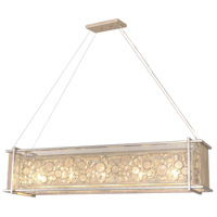 Fascination 5 Light 48 inch Zen Gold Linear Pendant Ceiling Light, Recycled Champagne Glass