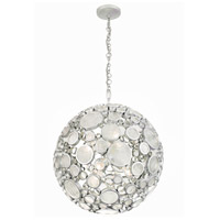 Fascination 6 Light 24 inch Metallic Silver Pendant Ceiling Light, Orb, Recycled Clear Glass