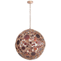 Fascination 8 Light 30 inch Kolorado Pendant Ceiling Light, Orb, Recycled Amber Bottle Glass