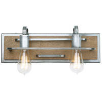 Lofty 2 Light 17 inch Wheat and Steel Vanity Wall Light