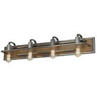 Lofty 4 Light 34 inch Wheat and Steel Vanity Wall Light
