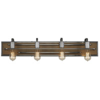 Varaluz 268B04SLW Lofty 4 Light 34 inch Wheat and Steel Vanity Wall Light