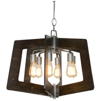Lofty 24 inch Faux Zebrawood and Steel Chandelier Ceiling Light