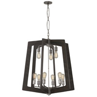 Lofty 9 Light 30 inch Faux Zebrawood and Steel Chandelier Ceiling Light