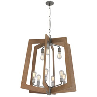 Lofty 9 Light 30 inch Wheat and Steel Chandelier Ceiling Light