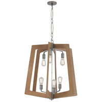 Lofty 6 Light 26 inch Wheat and Steel Foyer Chandelier Ceiling Light