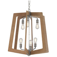 Varaluz 268F06SLW Lofty 6 Light 26 inch Wheat and Steel Foyer Chandelier Ceiling Light