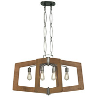 Lofty 6 Light 36 inch Wheat and Steel Linear Pendant Ceiling Light, Oval