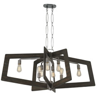 Varaluz 268N08SL Lofty 8 Light 48 inch Faux Zebrawood and Steel Linear Pendant Ceiling Light, Oval