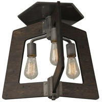 Lofty 3 Light 19 inch Faux Zebrawood and Steel Semi-Flush Ceiling Light