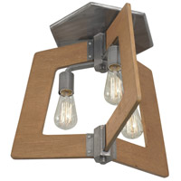 Lofty 3 Light 19 inch Wheat and Steel Semi-Flush Ceiling Light