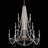 Barcelona 12 Light 44 inch Transcend Silver Chandelier Ceiling Light, 3-Tier, Optic Crystal