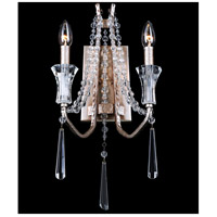 Barcelona 2 Light 11 inch Transcend Silver Wall Sconce Wall Light, Optic Crystal