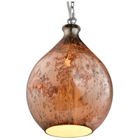 French Quarter 1 Light 9 inch Chrome Mini Pendant Ceiling Light in Red Copper Art