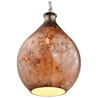 French Quarter 13 inch Chrome Pendant Ceiling Light in Red Copper Art