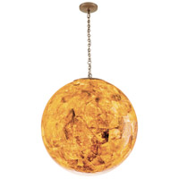 Big 3 Light 25 inch Gold Dust Pendant Ceiling Light, Orb, Reclaimed Champagne Shell
