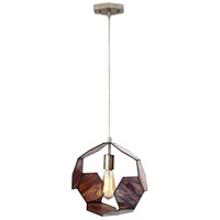 Honeycomb 1 Light 12 inch Bronze and Antiqued Silver Leaf Pendant Ceiling Light, Caramel Opaline Glass
