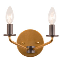 Jake 2 Light 9 inch Antique Gold with Rustic Bronze Vanity Light Wall Light