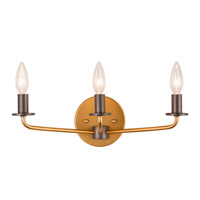 Jake 3 Light 16 inch Antique Gold with Rustic Bronze Vanity Light Wall Light