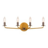 Jake 4 Light 23 inch Antique Gold with Rustic Bronze Vanity Light Wall Light