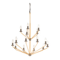 Jake 15 Light 32 inch Antique Gold with Rustic Bronze Chandelier Ceiling Light
