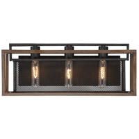 Varaluz 285B03DOBL Rio Lobo 3 Light 21 inch Dark Oak with Black Vanity Light Wall Light