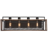 Rio Lobo 4 Light 27 inch Dark Oak with Black Vanity Light Wall Light