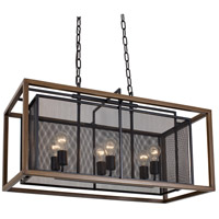 Rio Lobo 6 Light 32 inch Dark Oak and Black Linear Pendant Ceiling Light