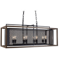 Rio Lobo 8 Light 42 inch Dark Oak and Black Linear Pendant Ceiling Light