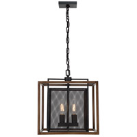 Rio Lobo 2 Light 16 inch Dark Oak with Black Pendant Ceiling Light