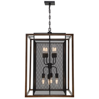 Rio Lobo 8 Light 22 inch Dark Oak with Black Foyer Ceiling Light