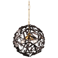Bermuda 3 Light 19 inch Antique Gold and Rustic Bronze Pendant Ceiling Light