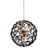 Varaluz 286C06AGRB Bermuda 6 Light 24 inch Antique Gold and Rustic Bronze Pendant Ceiling Light