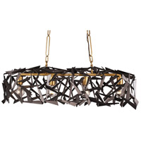 Bermuda 4 Light 36 inch Antique Gold and Rustic Bronze Linear Pendant Ceiling Light