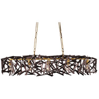 Bermuda 5 Light 48 inch Antique Gold and Rustic Bronze Linear Pendant Ceiling Light