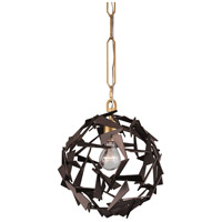 Bermuda 1 Light 12 inch Antique Gold and Rustic Bronze Pendant Ceiling Light