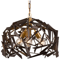 Varaluz 286P03AGRB Bermuda 3 Light 18 inch Antique Gold with Rustic Bronze Pendant Ceiling Light