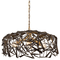 Varaluz 286P06AGRB Bermuda 6 Light 24 inch Antique Gold with Rustic Bronze Pendant Ceiling Light
