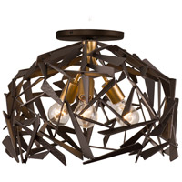 Bermuda 3 Light 18 inch Antique Gold with Rustic Bronze Flush Mount Ceiling Light