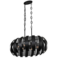 Varaluz 287N06BL Sawyers Bar 6 Light 30 inch Black Linear Pendant Ceiling Light